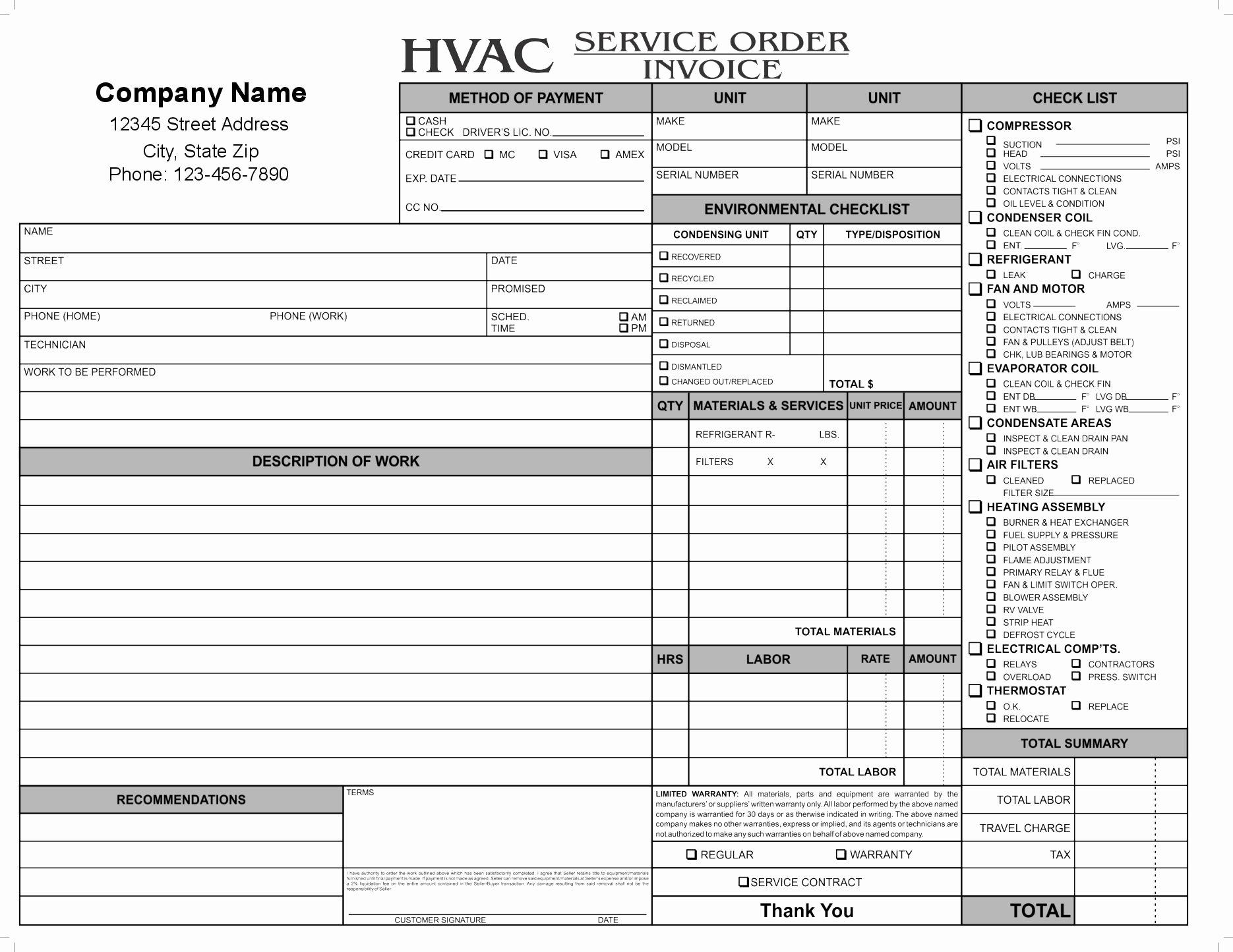 Hvac Service order Invoice Template New 11 Hvac Invoice Template Free top Invoice Templates Hvac