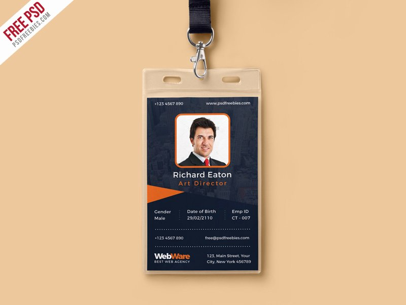 Id Badge Template Photoshop Fresh Free Psd Vertical Pany Identity Card Template Psd by