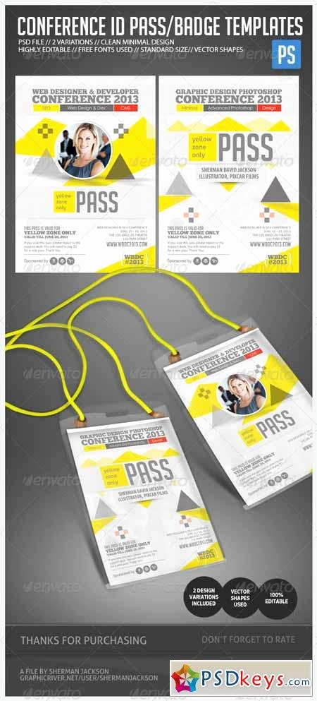 Id Badge Template Photoshop Lovely Conference Expo & Corporate Pass Id Badge Free