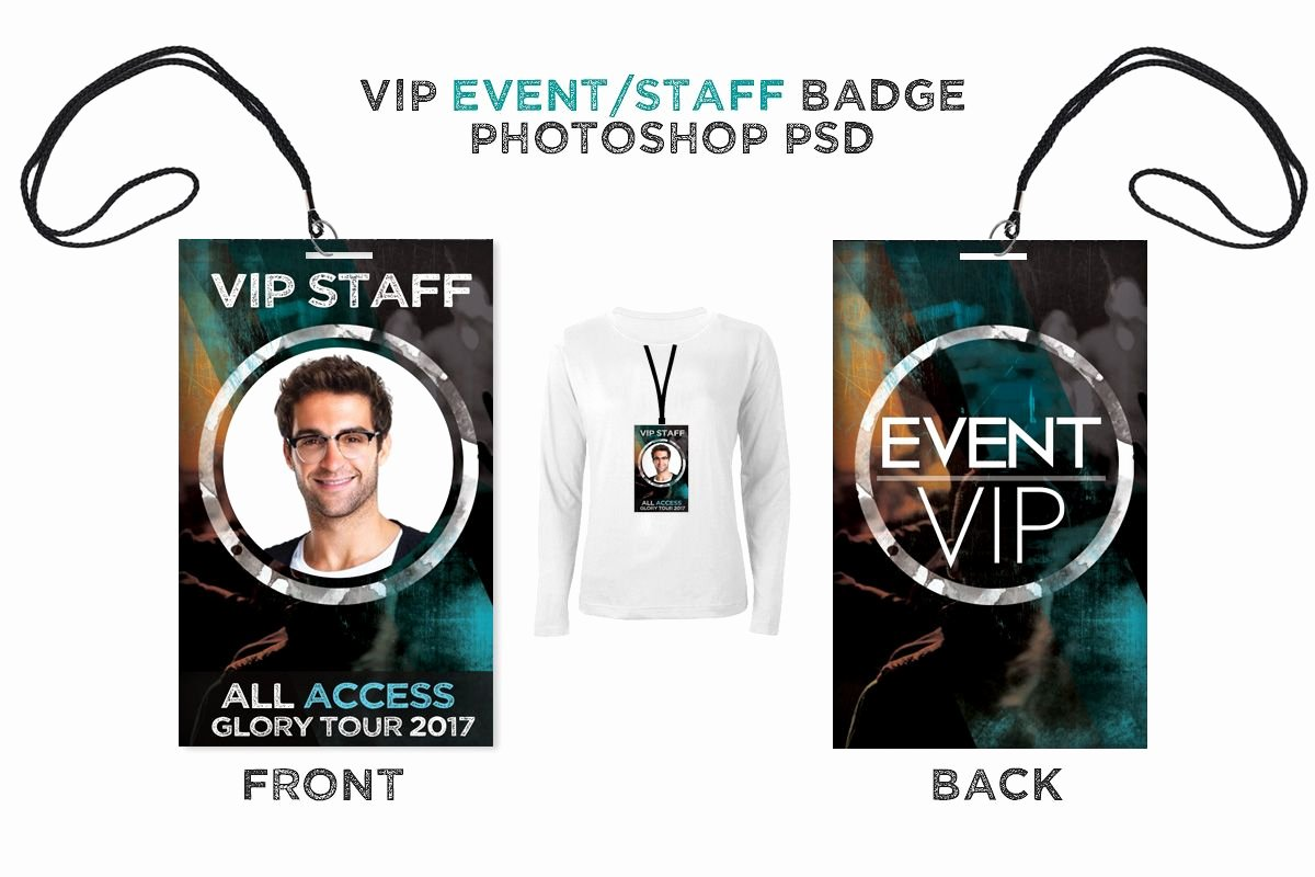 Id Badge Template Photoshop Luxury Vip Backstage Pass Christian Graphic Design
