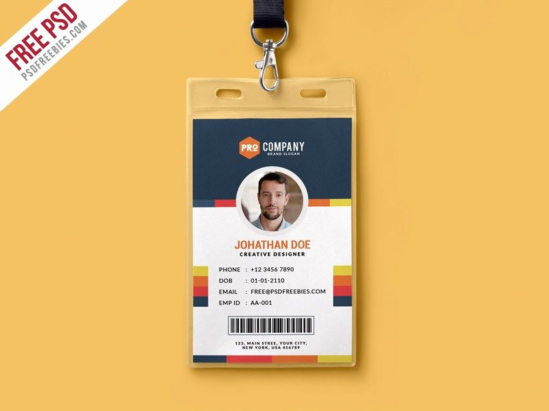 Id Badge Template Photoshop New Id Card Template