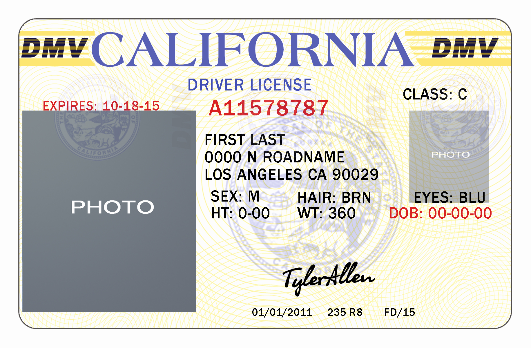 Id Card Template Photoshop Elegant 10 California Drivers Id Template Psd California