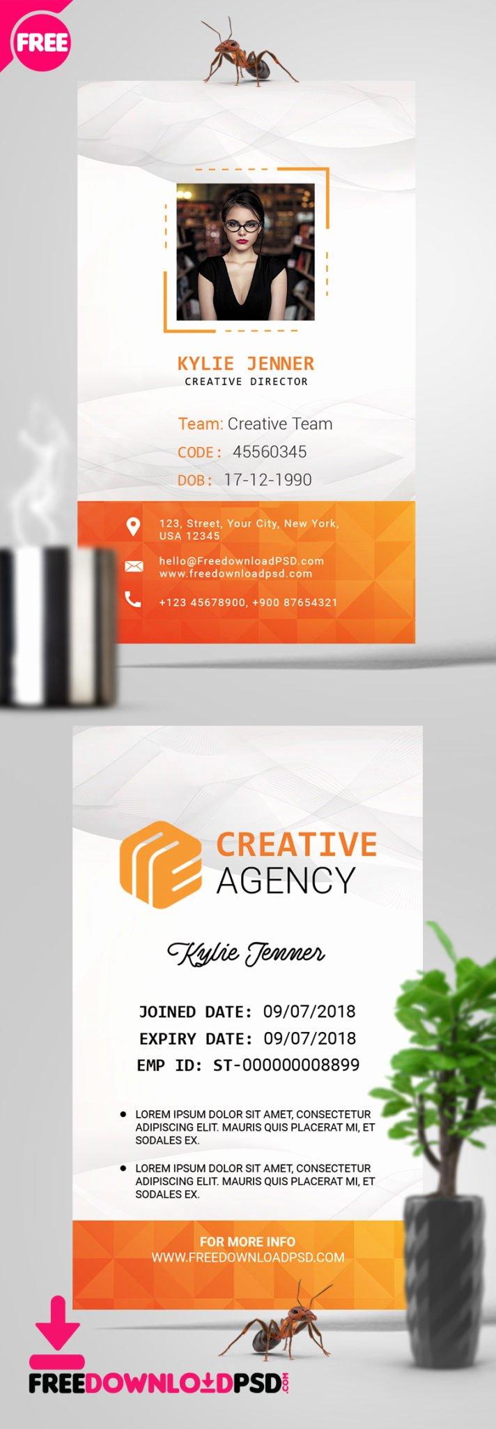 Id Card Template Photoshop Inspirational Fice Identity Card Psd Template