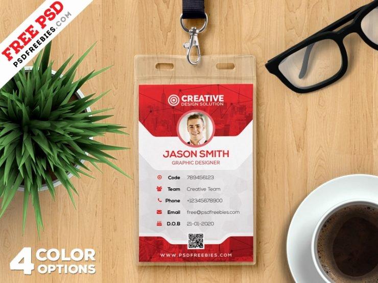 Id Card Template Photoshop New Fice Identity Card Template Psd Set
