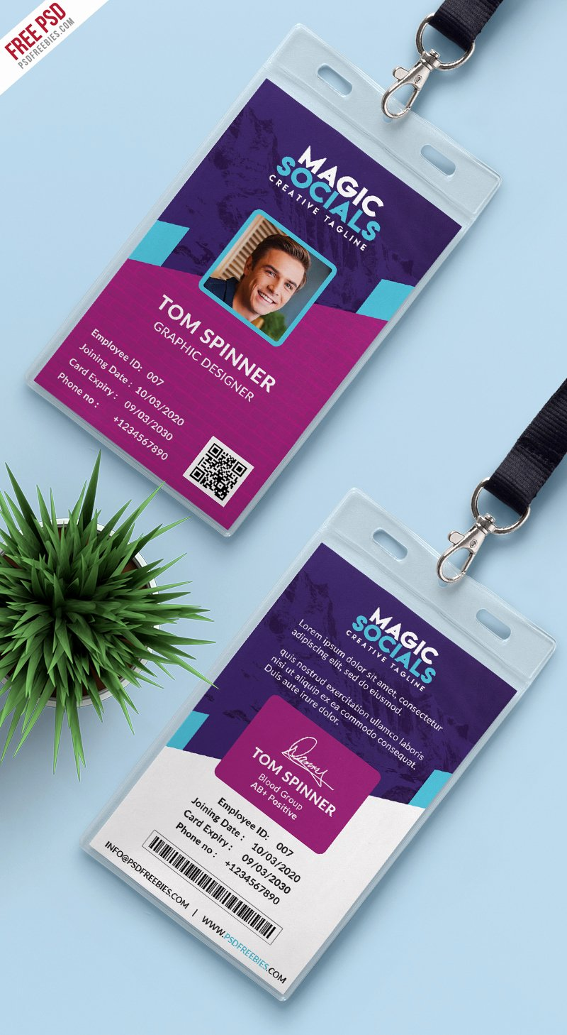 Id Card Template Photoshop Unique Fice Identity Card Free Psd