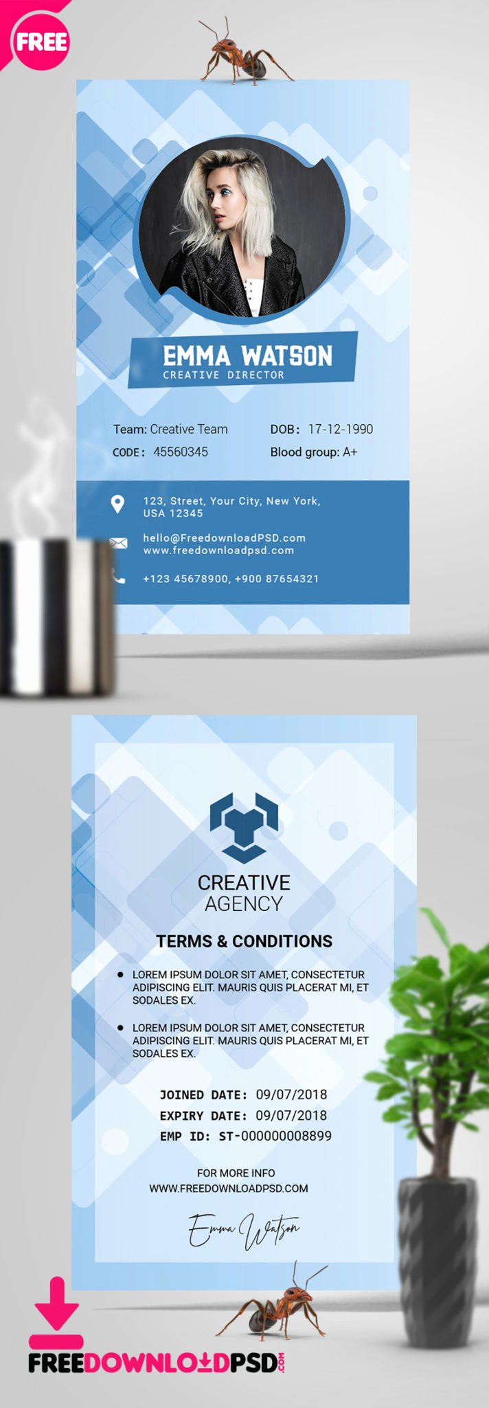 Id Card Templates Photoshop Beautiful [free] Fice Id Card Psd Template