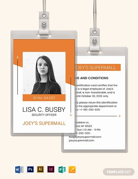 Id Card Templates Photoshop Inspirational Security Ficer Id Card Template Download 273 Id Cards