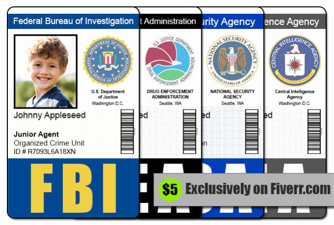 Id Card Templates Photoshop Luxury Send 1 Fbi Cia Nsa or Dea Id Badge Photoshop Template