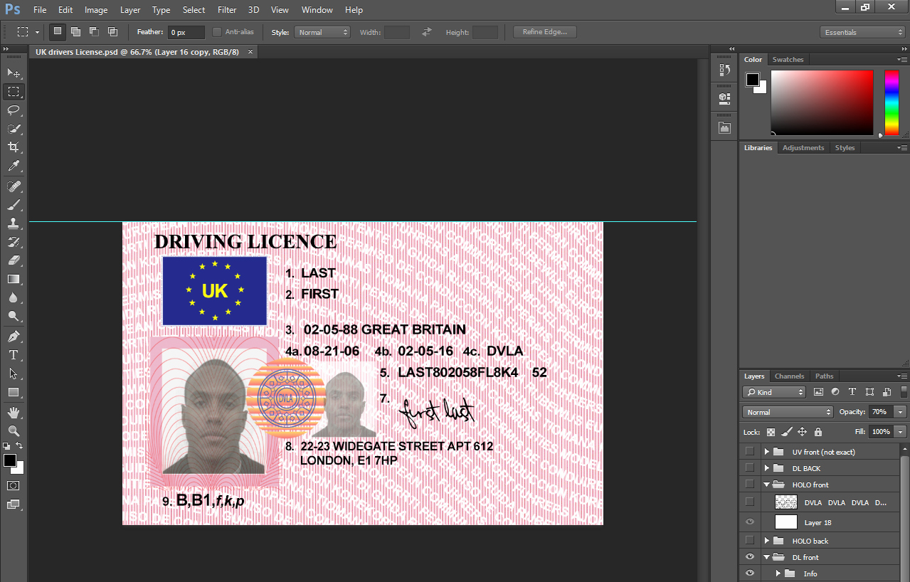 Id Card Templates Photoshop New Uk Drivers License Psd Template Ohio