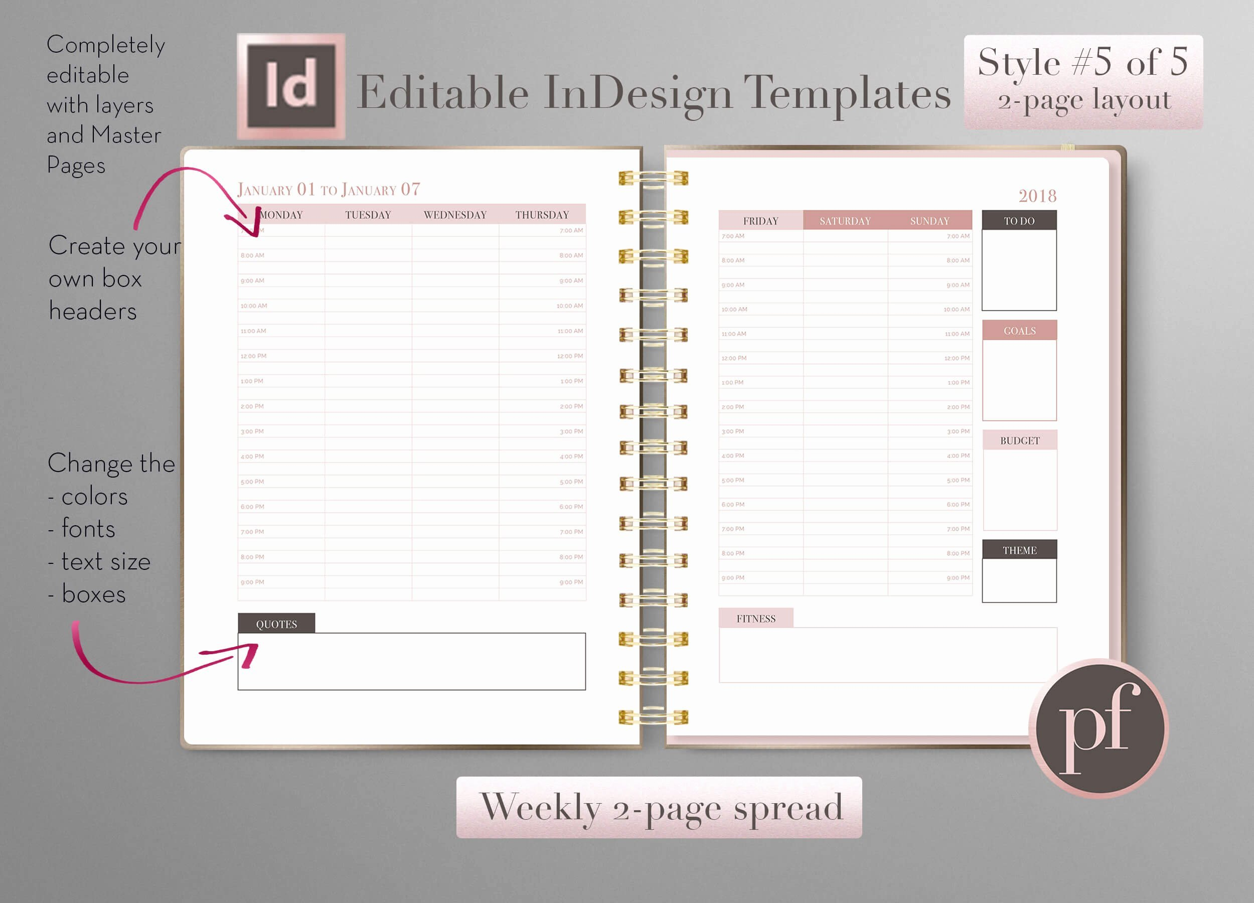 In Design Calendar Templates Luxury Weekly Calendar
