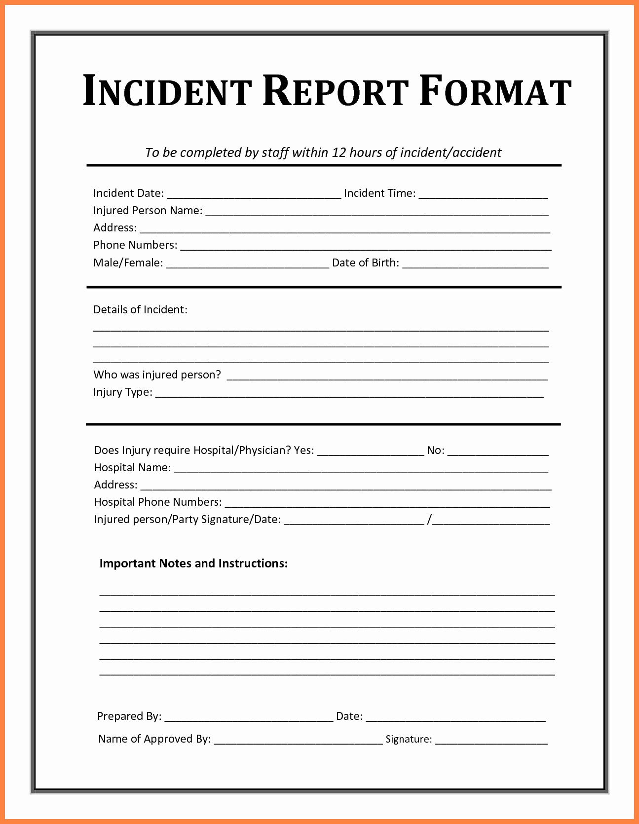 Incident Report Template Microsoft Elegant Incident Report Template Free Incident Report Templates