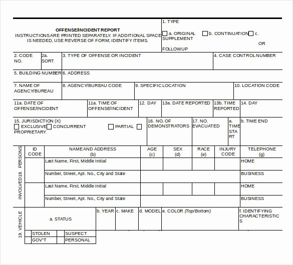 Incident Report Template Microsoft Lovely Police Report Templates 8 Free Blank Samples Template