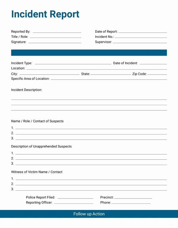 Incident Report Template Word Inspirational 33 Incident Report format