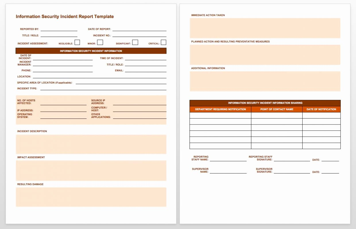 Incident Report Template Word Inspirational Incident Report Template Word