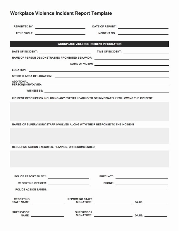 Incident Report Template Word Luxury Incident Report Sample