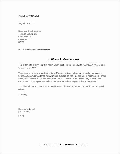 Income Verification Letter Template Awesome In E Verification Letter Sample Ms Word