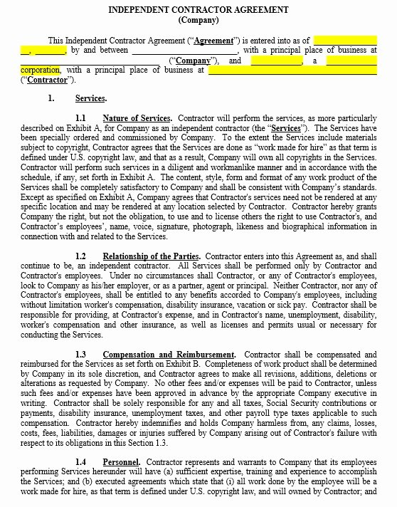 Independent Contractor Agreement Template Free Awesome 10 Free Independent Contractor Agreement Templates