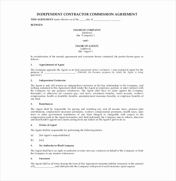 Independent Contractor Agreement Template Free Awesome 12 Mission Agreement Templates Word Pdf Apple
