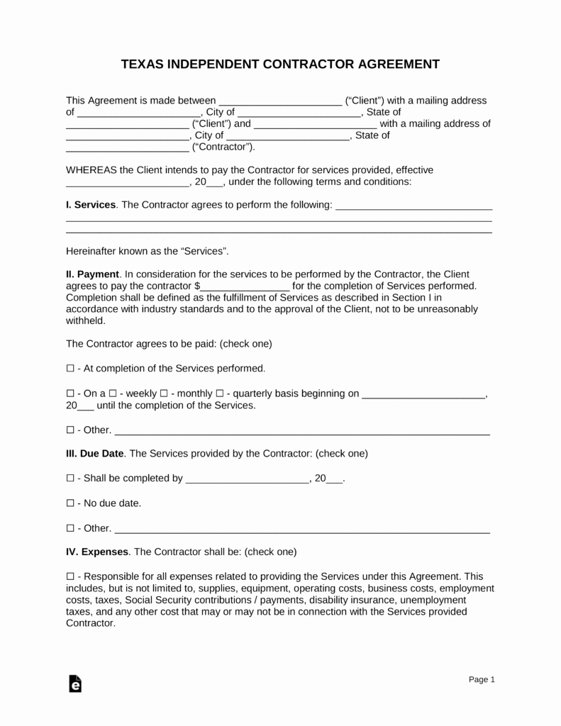Independent Contractor Agreement Template Free Fresh Free Texas Independent Contractor Agreement Pdf