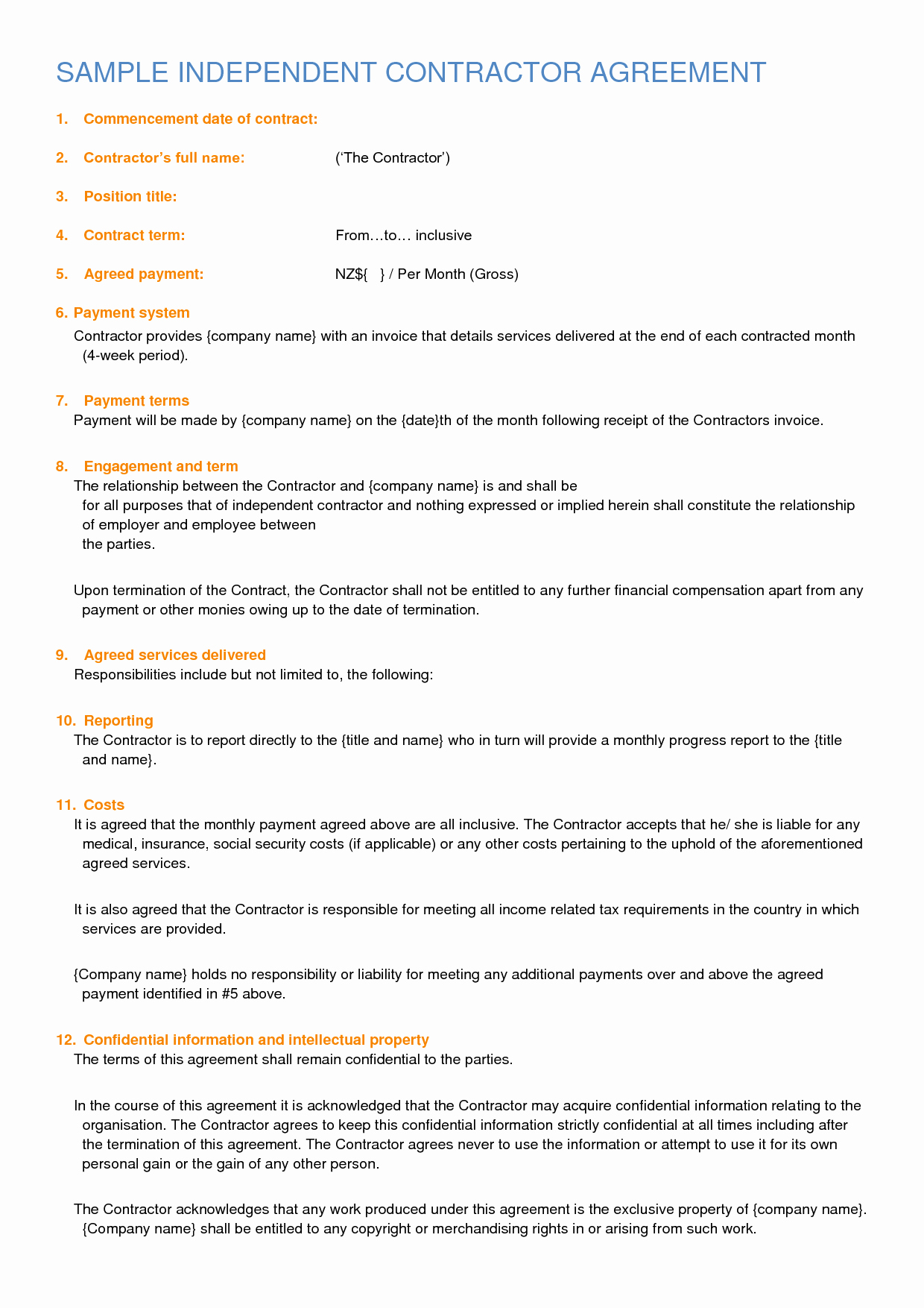 Independent Contractor Agreement Template Free Fresh Independent Contractor Contract Sample Free Printable