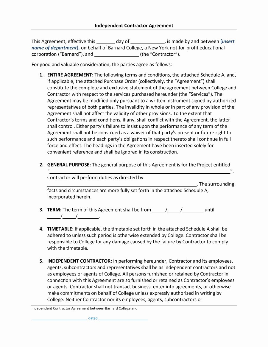 Independent Contractor Agreement Template Free Luxury 50 Free Independent Contractor Agreement forms & Templates