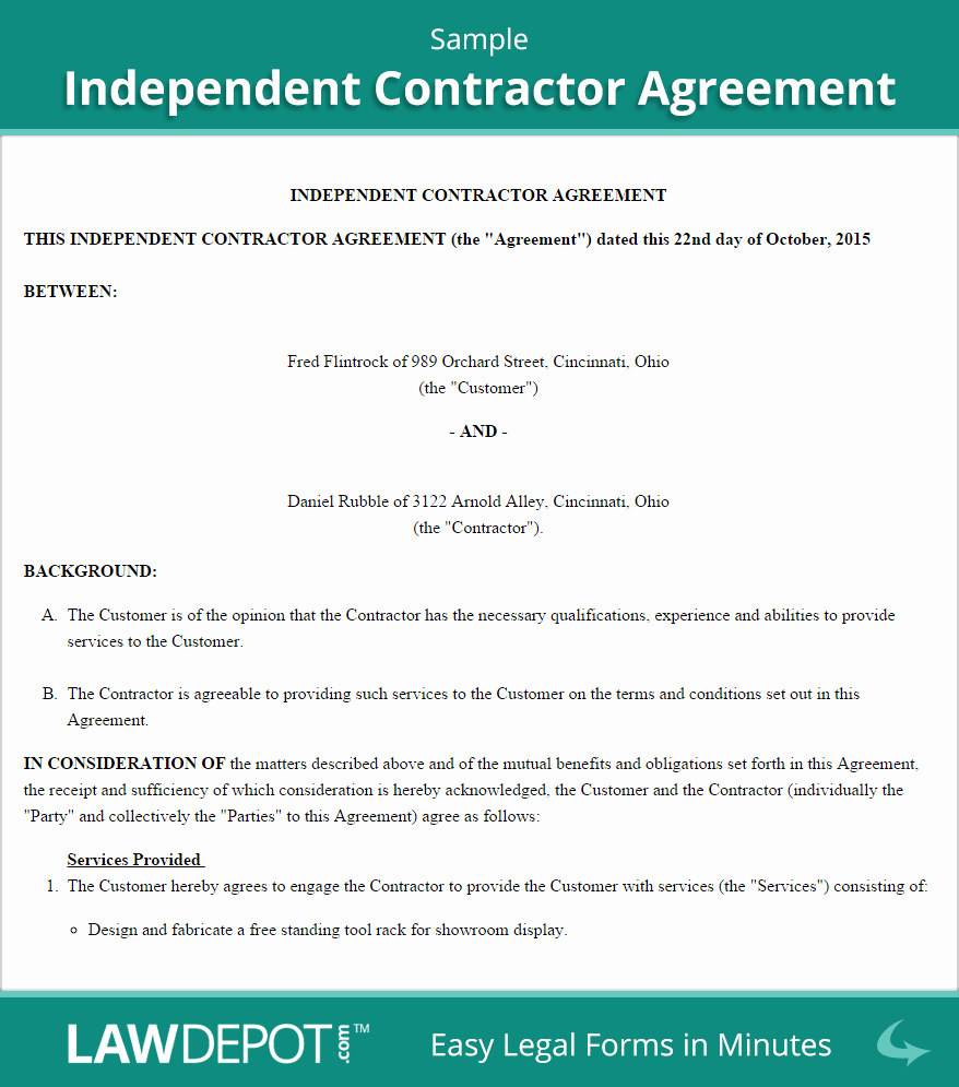 Independent Contractor Agreement Template Free Luxury Independent Contractor Agreement Template Us