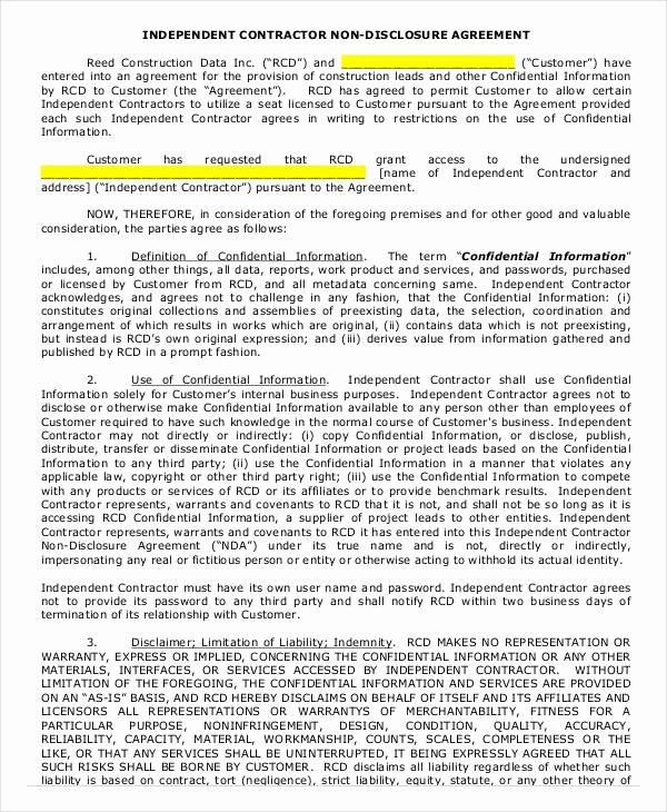 Independent Contractor Agreement Template Free New Independent Contractor Agreement 16 Free Pdf Google
