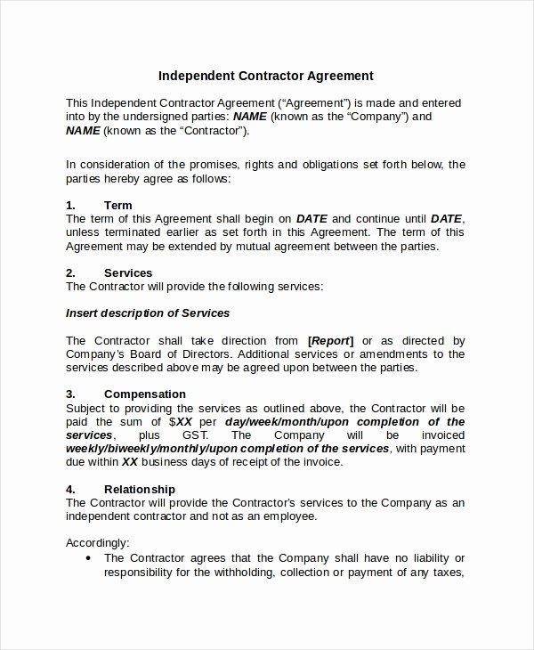 Independent Contractor Agreement Template Free Unique Contractor Confidentiality Agreement 10 Free Word Pdf