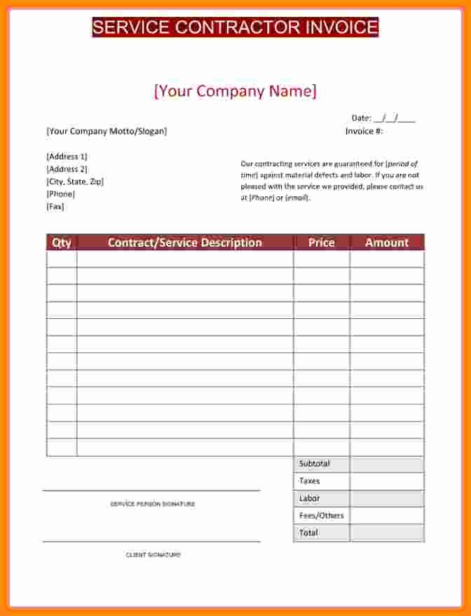 Independent Contractor Invoice Template Fresh 5 Independent Contractor Invoice Template Free