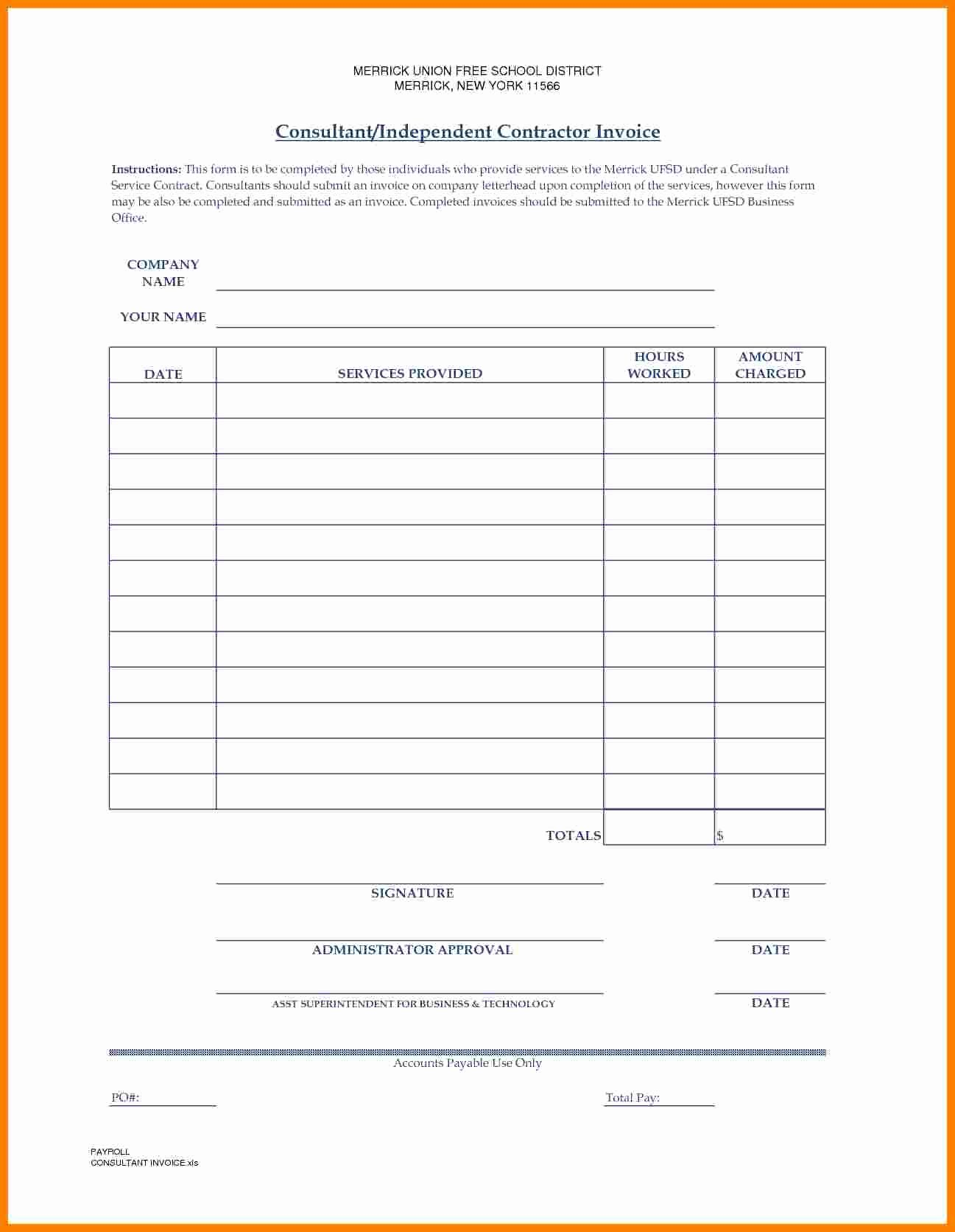 Independent Contractor Invoice Template Inspirational 7 Independent Contractor Invoice