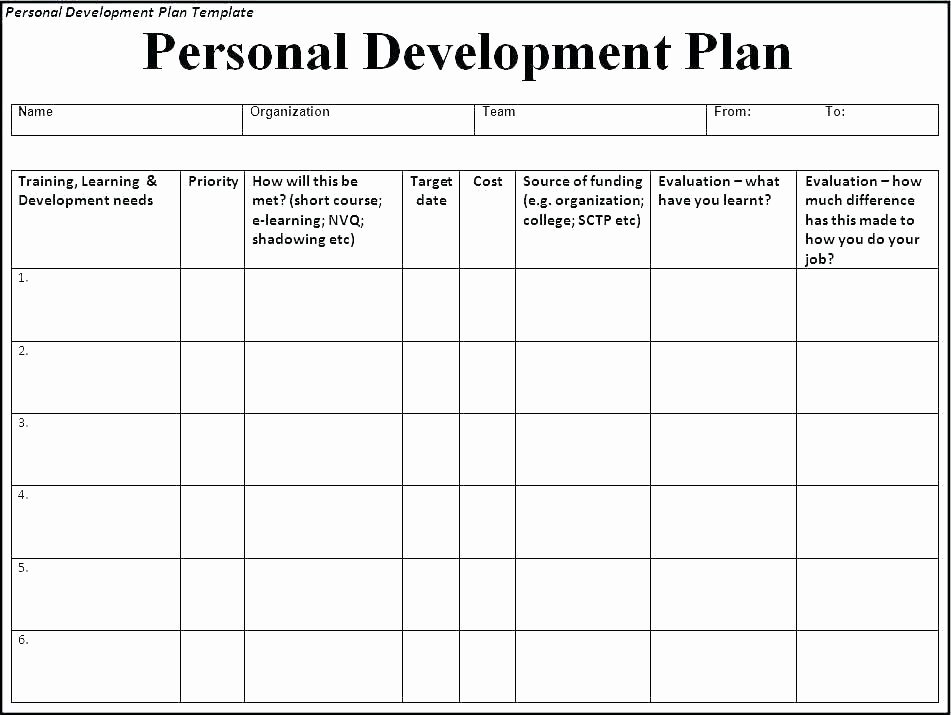 Individual Employee Training Plan Template Awesome Development Plan Template