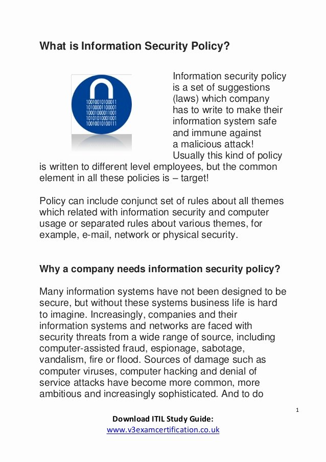 Information Security Policies Templates Beautiful What is Information Security Policy Itil V3 2011