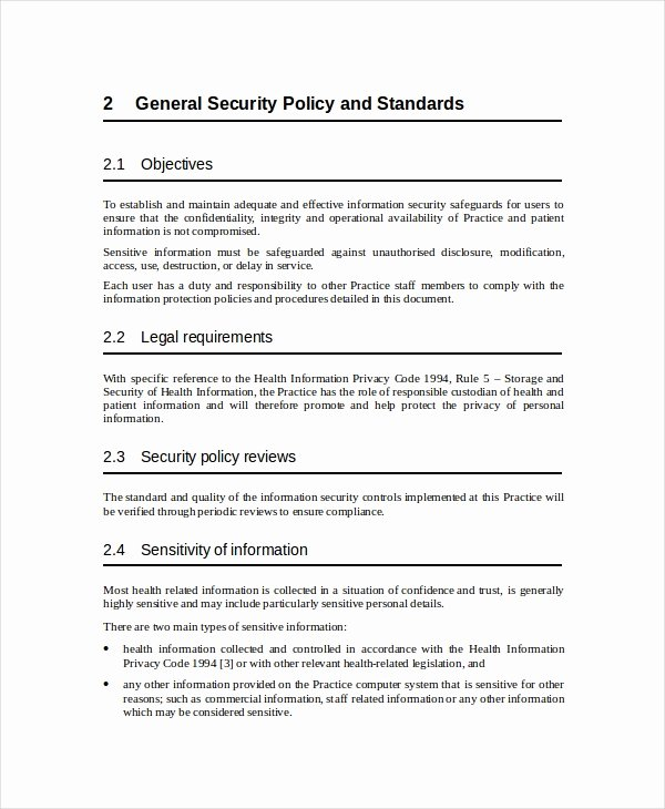 Information Security Policies Templates Fresh Security Policy Template 7 Free Word Pdf Document
