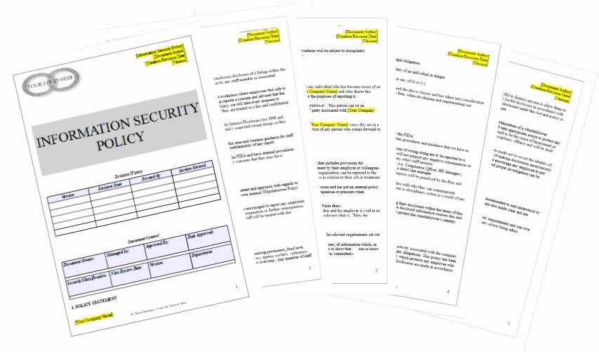 Information Security Policies Templates New Information Security Policy