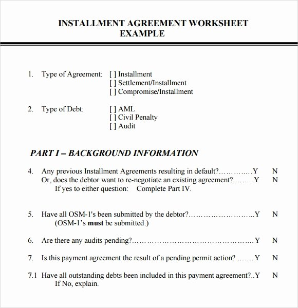 Installment Payment Contract Template Best Of Installment Agreement – 7 Free Samples Examples format