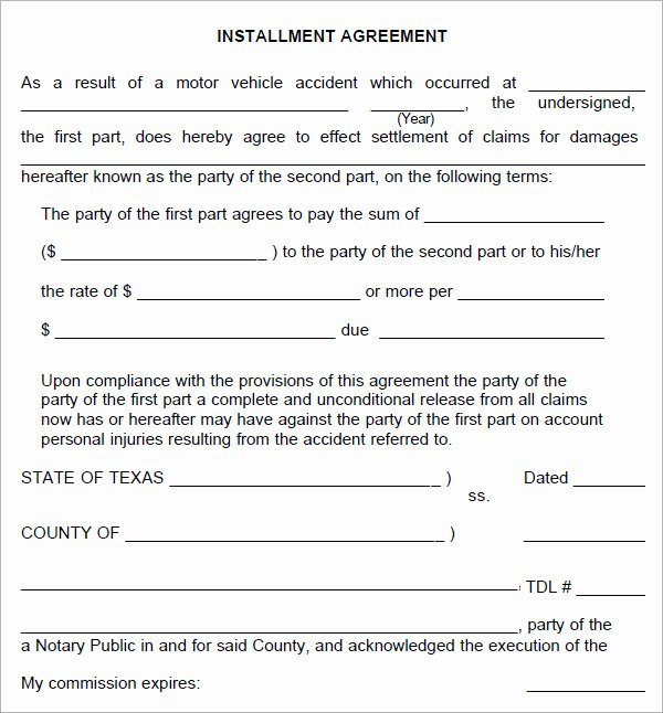 Installment Payment Contract Template New Installment Agreement