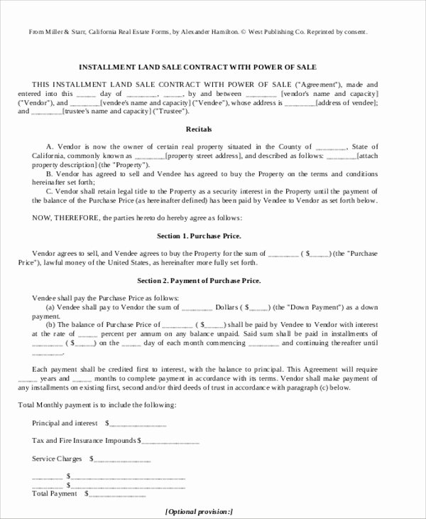 Installment Payment Contract Template Unique Sample Installment Sales Contract 12 Examples In Word Pdf