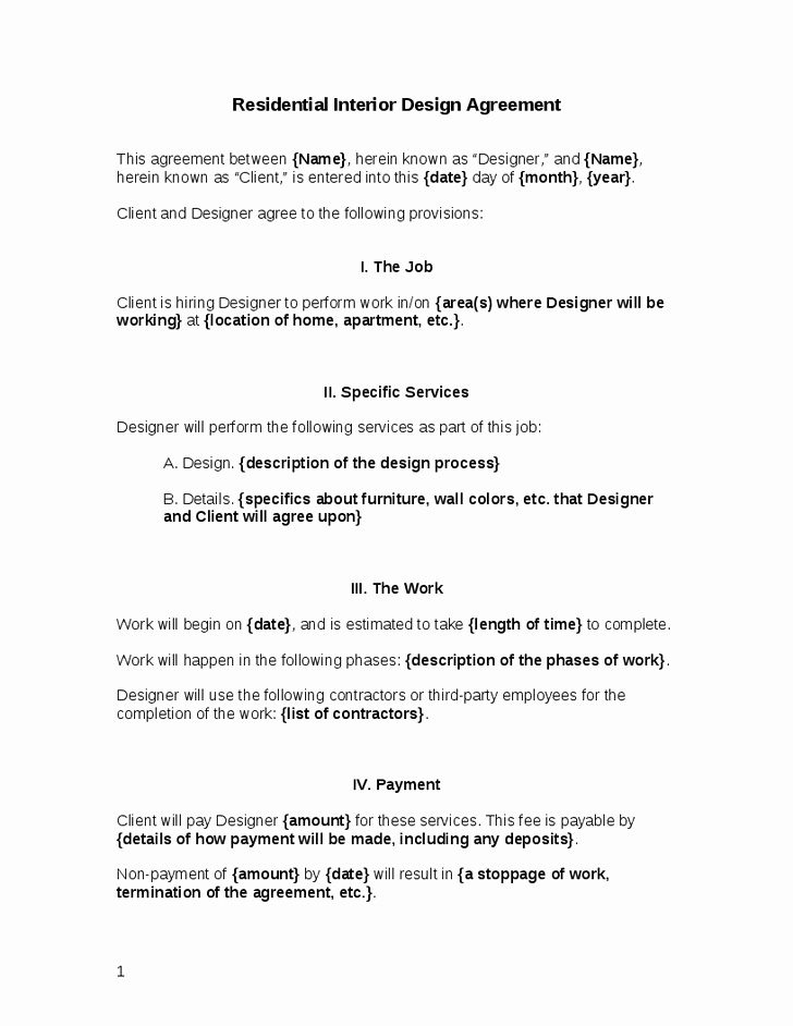 Interior Design Contract Template Fresh Interior Design Contract Template Interior Doors
