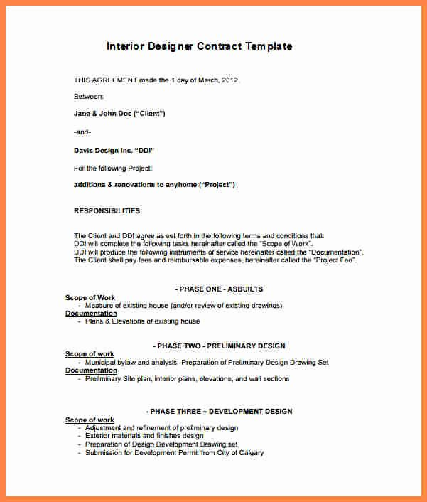 Interior Design Contract Template Inspirational 5 Interior Design Letter Of Agreement Template