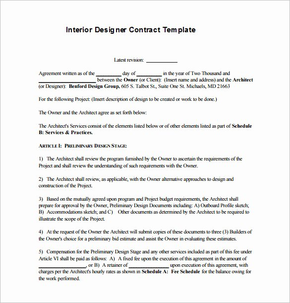 Interior Design Contract Template New 7 Interior Designer Contract Templates Word Pages Pdf