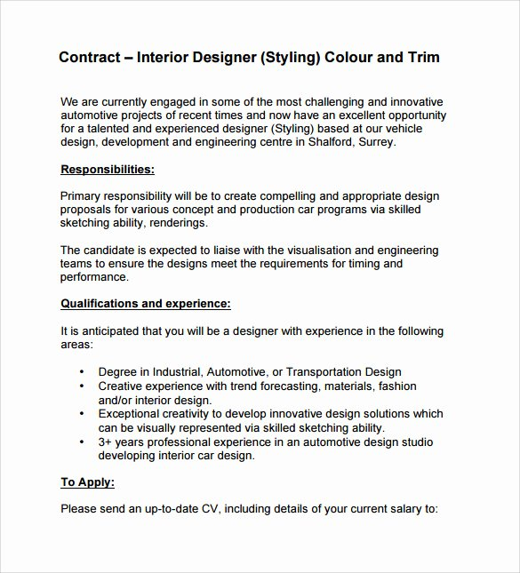 Interior Design Contract Template New Interior Design Contract Template 12 Download Documents