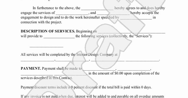 Interior Design Contracts Templates Awesome Interior Design Contract Agreement Template with Sample