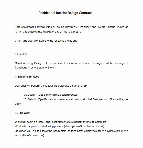 Interior Design Contracts Templates Best Of 7 Interior Designer Contract Templates Word Pages Pdf