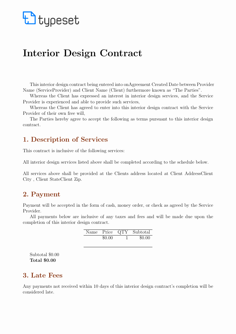 Interior Design Contracts Templates Luxury Contracts Interior Design Contract Template Template
