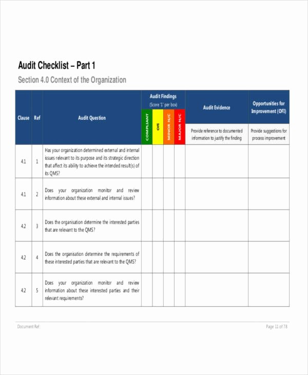 Internal Audit Checklist Template Awesome Free 18 Audit Checklist Examples & Samples In Pdf