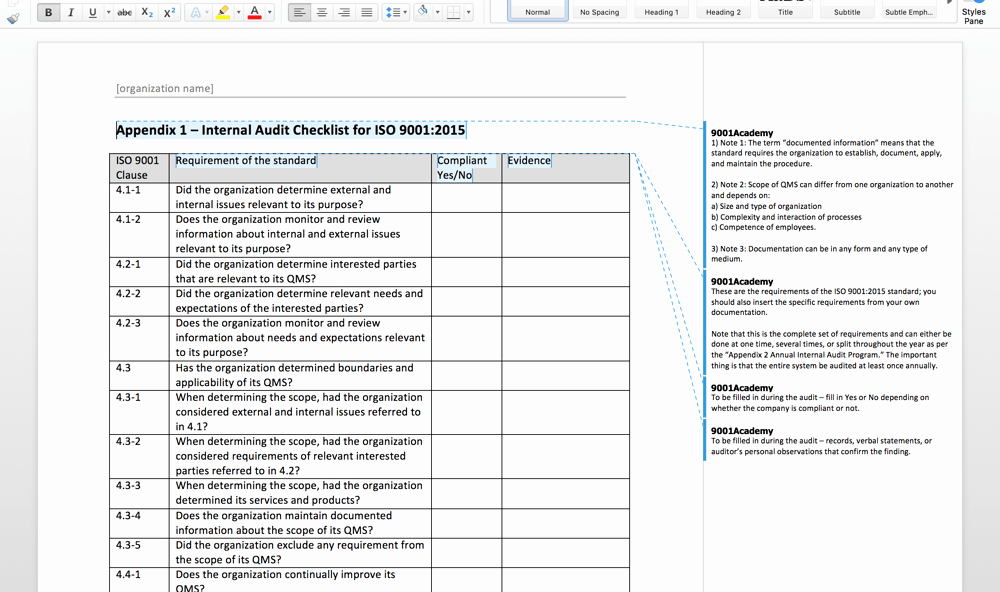 Internal Audit Checklist Template Awesome iso 9001 2015 Internal Audit toolkit