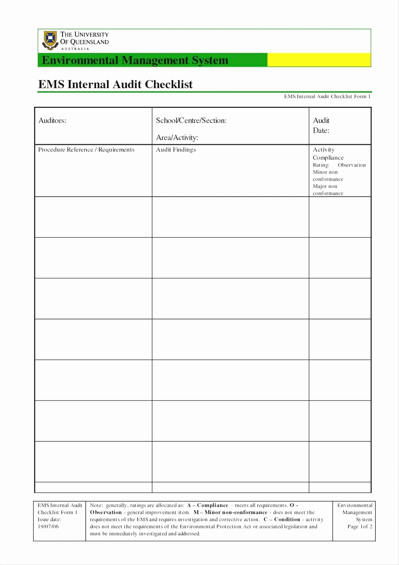 Internal Audit Checklist Template Best Of Internal Audit Checklist Template Excel