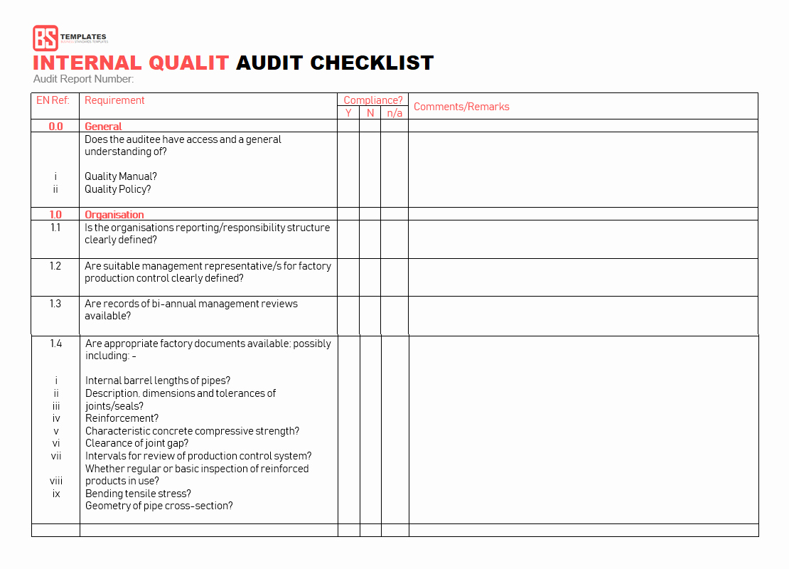 Internal Audit Checklist Template Fresh 15 Internal Audit Checklist Templates Samples Examples