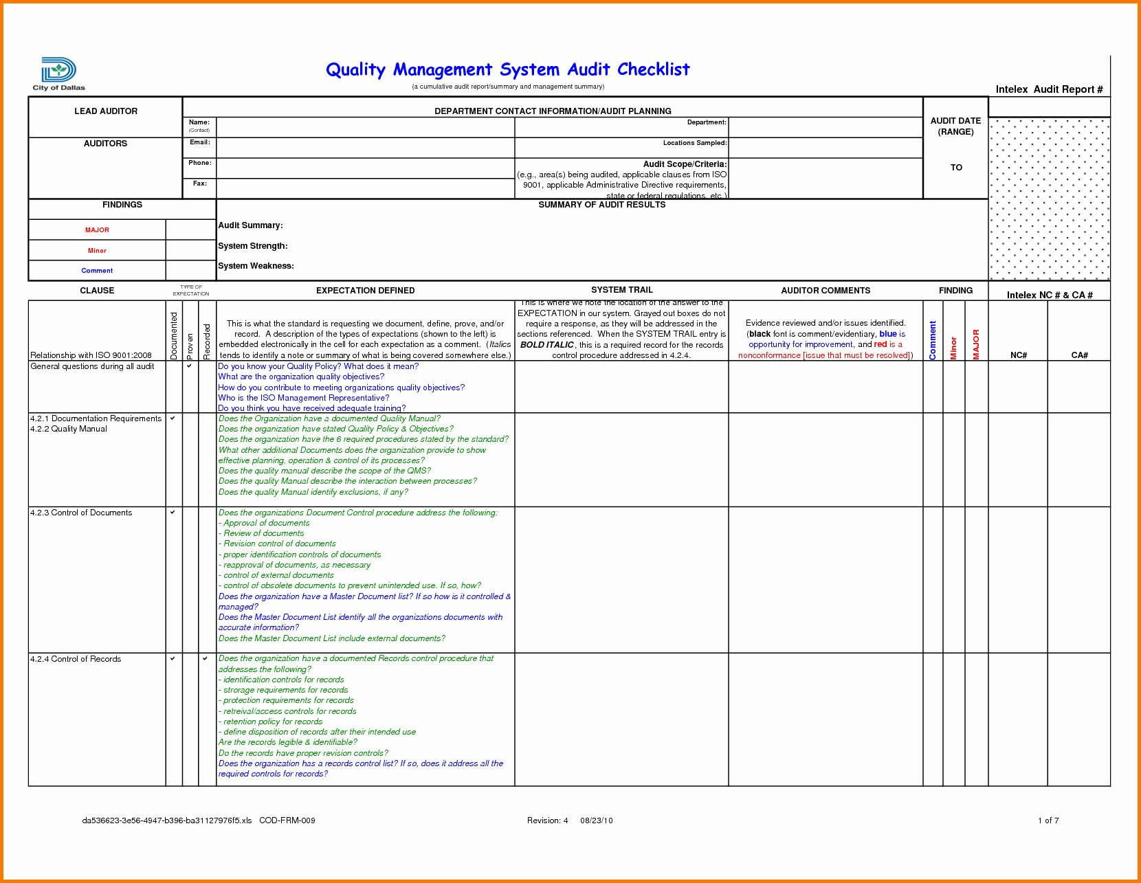 Internal Audit Checklist Template Inspirational Internal Audit Tracking Spreadsheet Spreadsheet Downloa