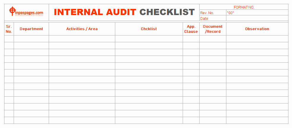 Internal Audit Checklist Template Lovely Internal Audit Checklist